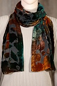 Colored Leaf Silk Velvet Scarf