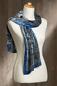 Women's Peacock Silk Velvet Scarf