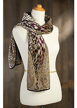 Women's Winding River Silk Velvet Scarf