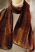 Women's Sunset Hand-painted Gold Lurex Silk Velvet Scarf