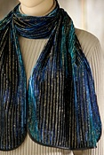 Women's Sapphire Hand-Painted Gold Lurex Silk Velvet Scarf