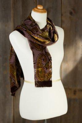 Paisley World Velvet Burnout Silk Scarf