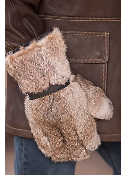 Men's Grizzly Gauntlet Leather and Rabbit Fur Gloves