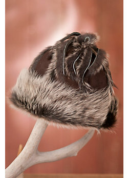 Shearling Sheepskin Hat with Toscana Fur Trim and Fringe