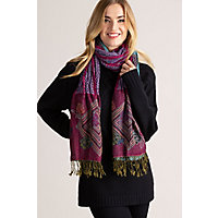 Ruched Shawl-Style Scarf, Hg-Hot Pink / Blue Western & Country