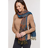 Ruched Shawl-Style Scarf, Turquoise Western & Country