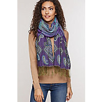 Ruched Shawl-Style Scarf, Purple Western & Country