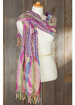 Shawl-Style Ruched Scarf