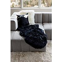 Single-Pelt Long Wool Australian Sheepskin Rug, Black Western & Country