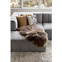 Single-Pelt Long Wool Australian Sheepskin Rug, Tan Tipped Western & Country