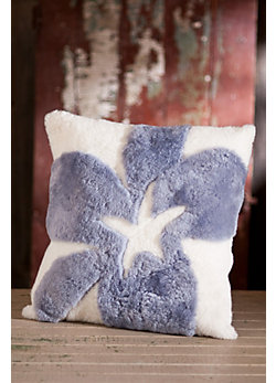 "Single-Sided 18"" x 18"" Star Sheepskin Pillow"