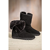 Women's Overland Angie Shearling-Lined Suede Boots, BLACK