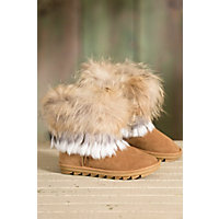 Women's Overland Nova Sheepskin Boots with Raccoon Fur Trim and Rabbit Fur Fringe, CHESTNUT/GREY & WHITE