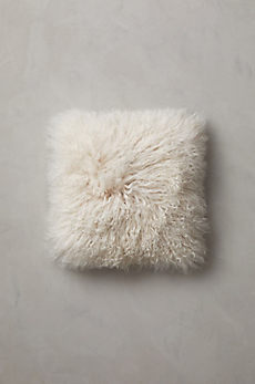 "Overland 16"" x 16"" Single-Sided Tibetan Lamb Fur Pillow"