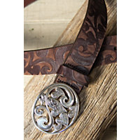 Love Carnival Leather Belt, Dark Brown, Size 38 Western & Country