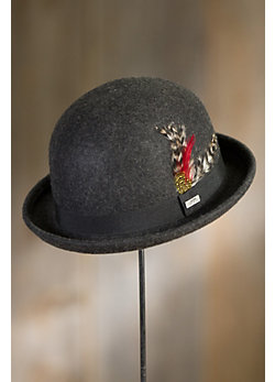 Crushable Wool Derby Bowler Hat with Feather Accent