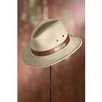 """Washed Twill Safari Hat with Leather Band, KHAKI, Size LARGE (22.75 - 23.25"""")"""