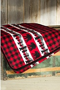 Bear Plaid Border Throw