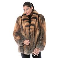 Women's Skyla Natural Cross Fox Fur Jacket, Natural, Size 10 Western & Country