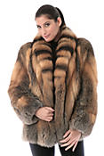 Skyla Natural Cross Fox Fur Jacket