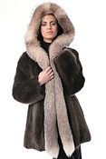 Women's Jade Longhaired Beaver Fur Coat with Fox Fur Trim