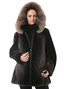 Women's Felicia Sheared Beaver Fur Jacket with Raccoon Fur Hood