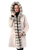 Women's Helena Reversible Sheared Mink Fur Coat with Chinchilla Fur Trim