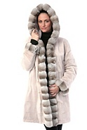 Helena Reversible Mink Fur Coat with Chinchilla Fur Trim