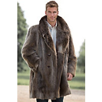 Men's Dominic Double-Breasted Longhaired Beaver Fur Coat, Blonde, Size 40 Western & Country