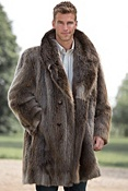 Men's Dominic Double-Breasted Longhaired Beaver Fur Coat