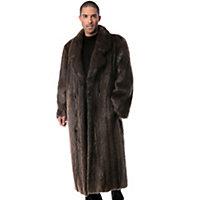 Men's Montague Full-Length Longhaired Beaver Fur Coat, Hazel, Size 46 Western & Country