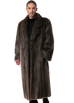 Men's Montague Full-Length Long-Haired Beaver Fur Coat
