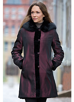 Women's Jennifer Reversible Mink Fur Coat with Fox Fur Trim