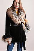 Women's Elizabeth Sheared Mink Fur Jacket with Fox Fur Collar
