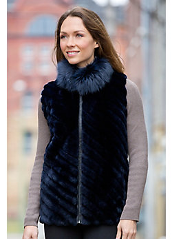 Women's Patricia Sheared Beaver Fur Vest with Fox Fur Collar