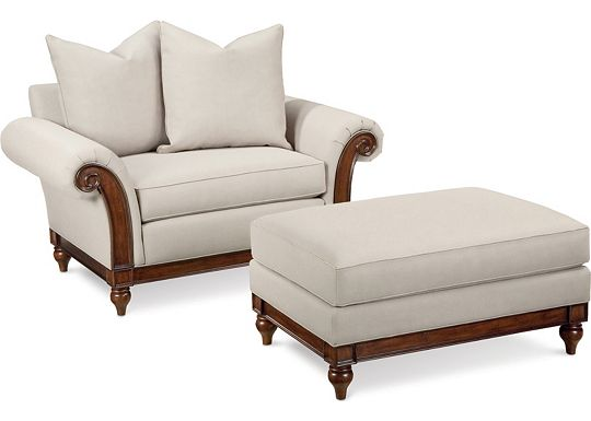 Calgary Chair with Scatterback Pillows and Ottoman (1313-02)
