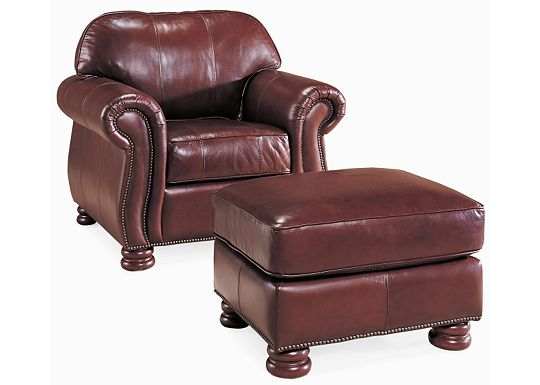 QuickShip - Benjamin Chair and Ottoman (Dropped Leather 0511-08)