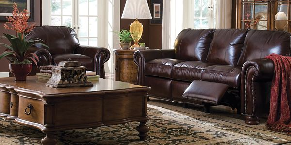 Leather choices living room furniture by thomasville furniture for Thomasville living room furniture sale