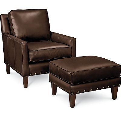 Leather Choices - Highlife Chair and Ottoman with Nails (0518-05)