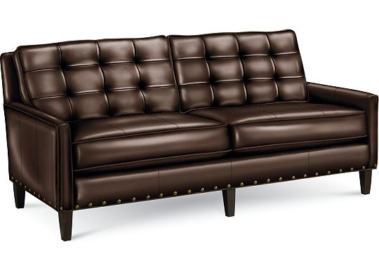 Leather Choices - Highlife Biscuit Back Sofa with Nails (0514-08)