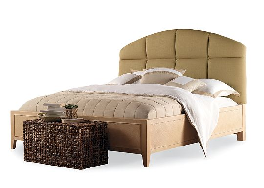 Seagrove - Upholstered Headboard (King/Cal. King in 1102-03 Walnut) and Cane Panel Footboard (King)