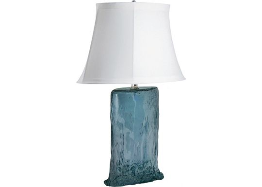 Accessories - Karel - Blue Oval Recycled Glass Table Lamp