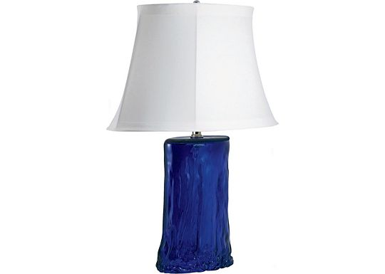 Accessories - Karel - Cobalt Blue Oval Recycled Glass Table Lamp
