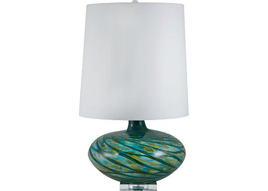 Accessories - Reneda - Blue Swirl Glass Table Lamp