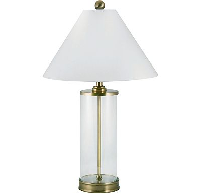 Accessories - Rayanne - Antique Brass Cylinder Glass Table Lamp