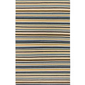 Cabana Stripes - Black/Blue/Gold Rug - 5'x8'
