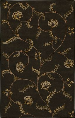 Flores - Black/Tan/Gold Rug - 5'x8'