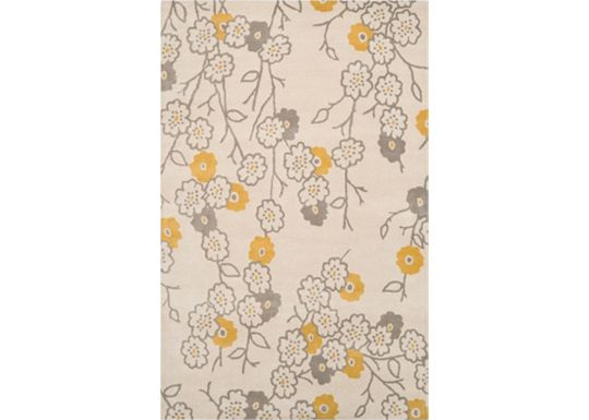 Accessories - Groundworks - Ivory/Gray/Yellow Rug - 5'x8'