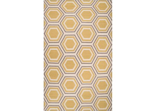 Accessories - Tracings - Yellow/Cream/Gray Rug - 5'x8'
