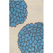 Ronna - Pacific Blue/Bone/Brown Rug - 5'x8'